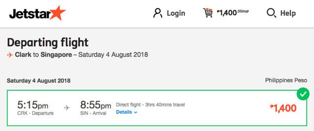 Clark to Singapore Jetstar Promo August 4, 2018