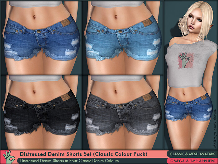 iPeench! Distressed Denim Shorts Set (Classic Colour Pack)