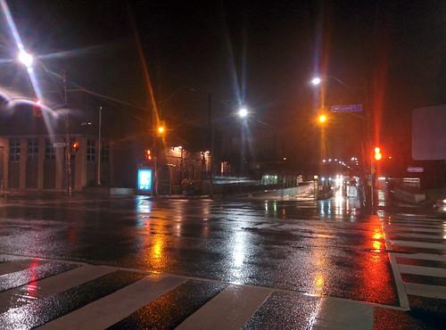Looking north, Dovercourt and Dupont #toronto #dovercourtvillage #dovercourtroad #dupontstreet #lights #night #rain #latergram
