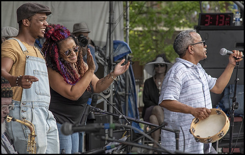 Arsene DeLay onstage with John Boutte at Day 2 of French Quarter Festival - 4.13.18. Photo by Marc PoKempner.