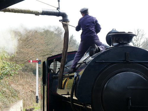 Parkend Railway Station - steam train - topping up the water