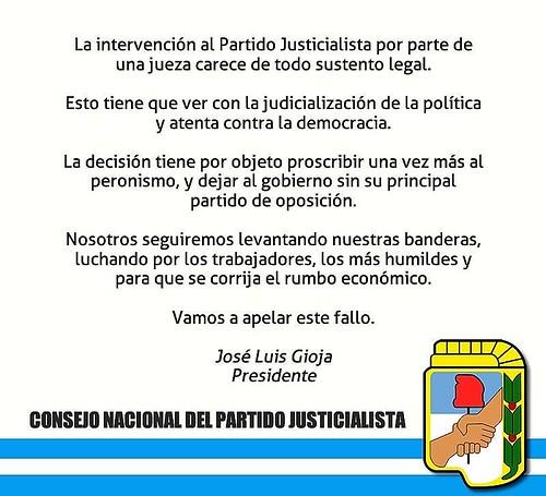 consejo nacional del Partido justicialista