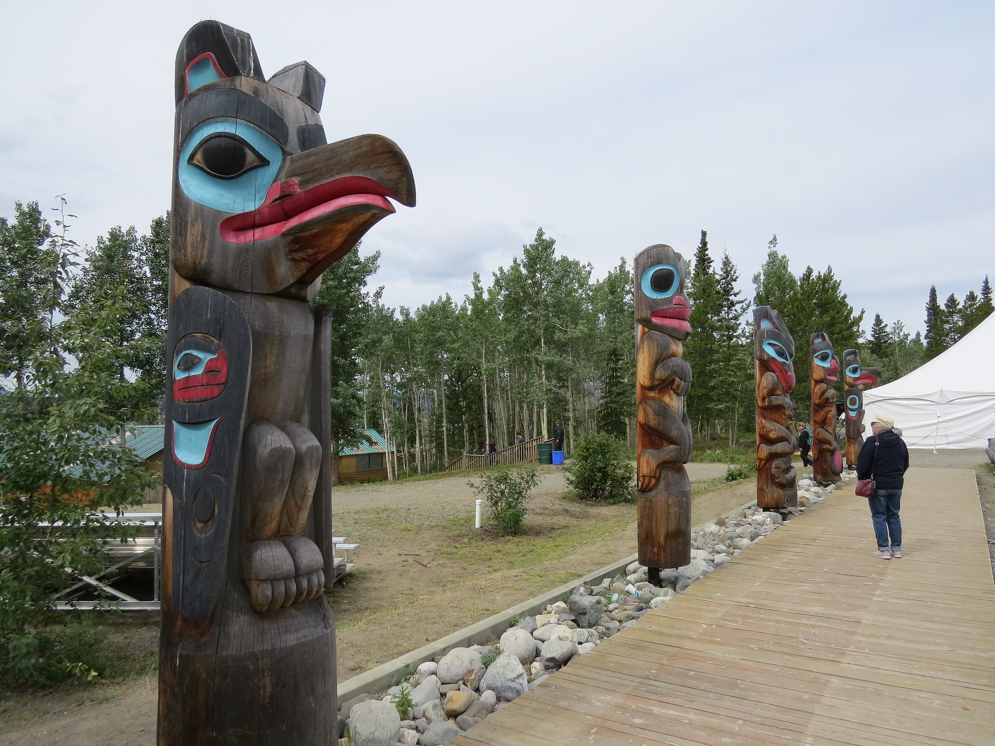 Wooden carvings outside the Teslin Tlingit Heritage Centre