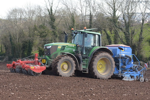 John Deere 6195M Tractor with a Twose FP1-300 Premium Front Press and a Lemken Solitair 8 Seed Drill