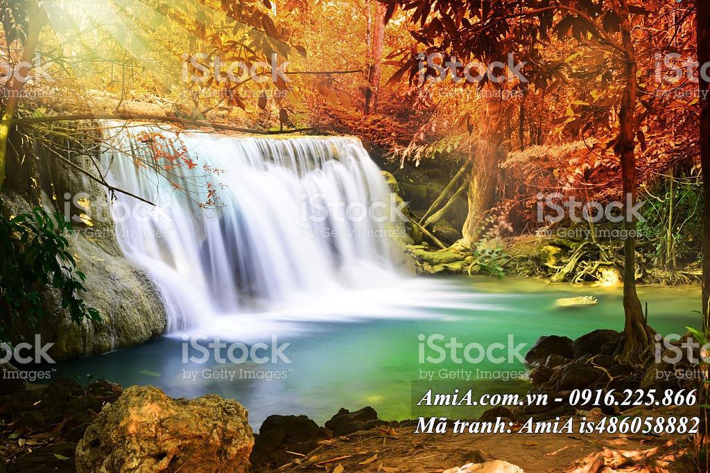 Tranh phong cảnh đẹp thác nước phong thủy