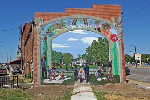 mattoonillinois sidewalk downtown smalltownamerica mural wall history painting