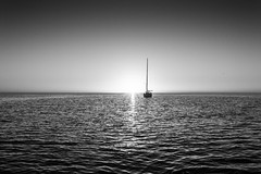 Sunset in B&W - sailboat Bahamas
