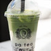 Matcha tea latte with taipioca bubbles pearls