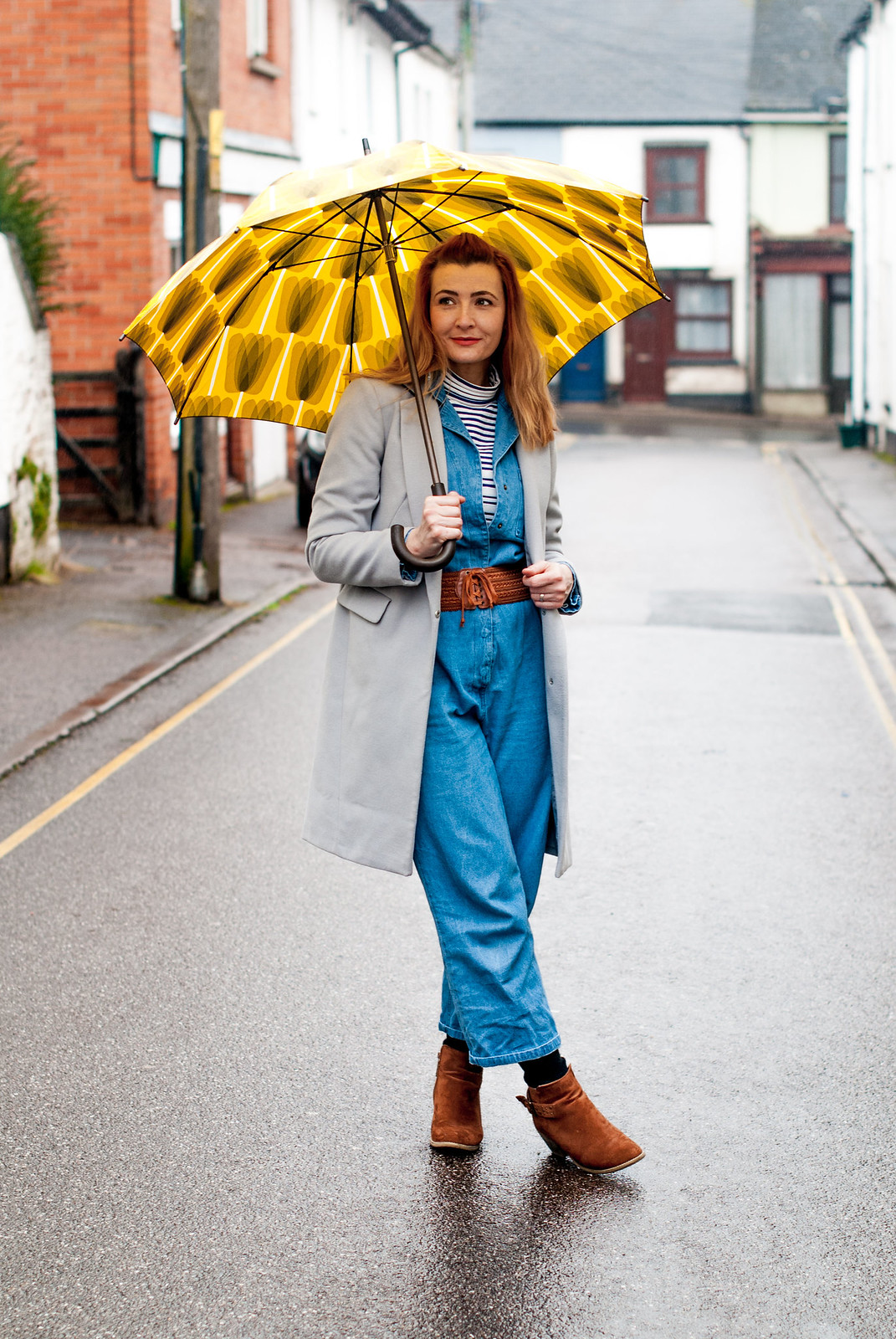 Styling a Boiler Suit for a Rainy Spring Day: Denim boiler suit \ grey duster coat \ striped Breton roll neck \ tan suede ankle boots | Not Dressed As Lamb, over 40 fashion