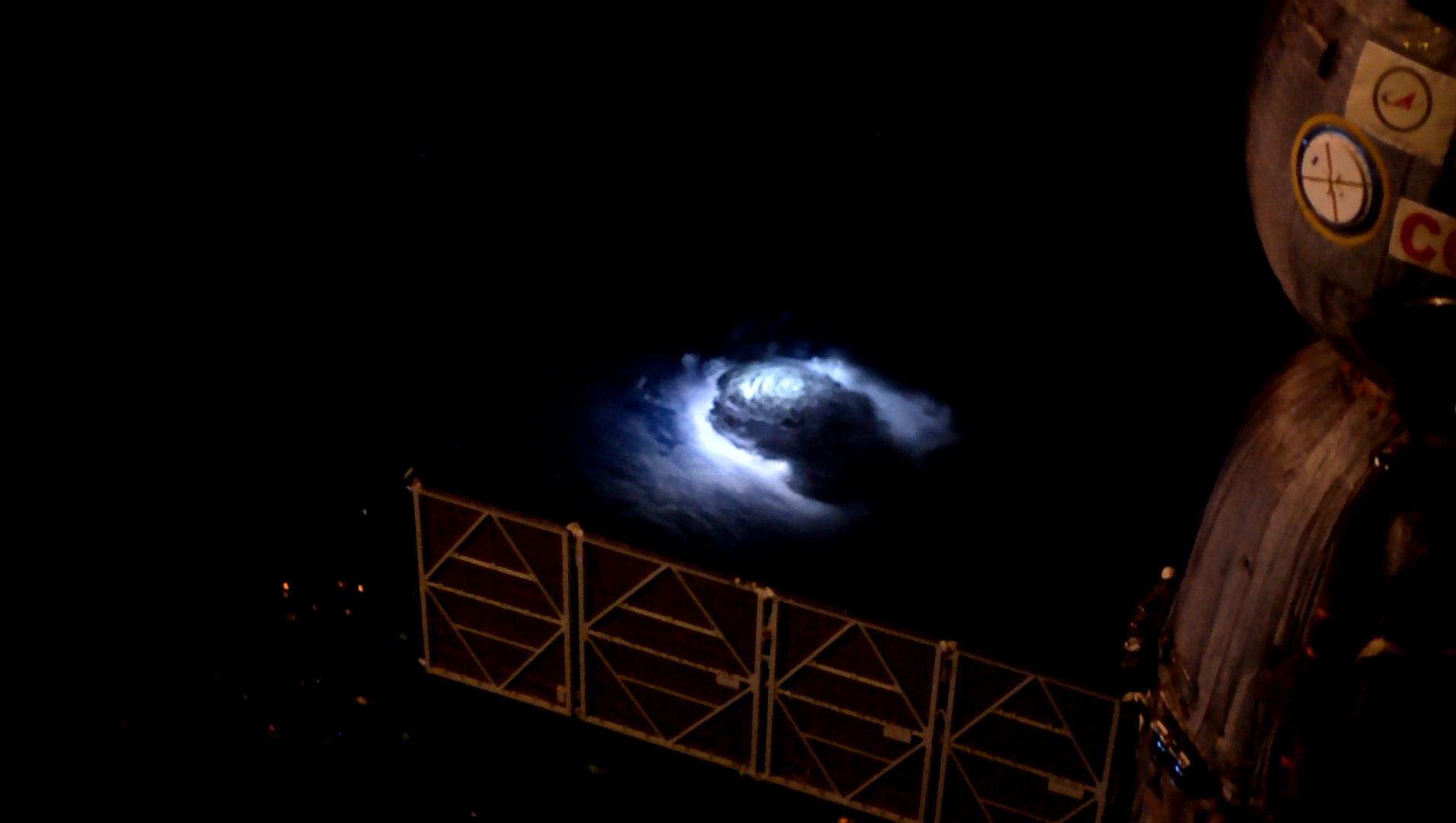 A thunderstorm as seen from the International Space Station