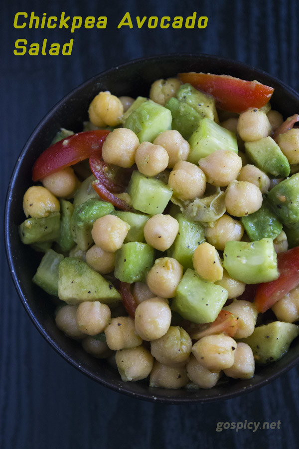 Chickpea Avocado Salad Recipe by GoSpicy.net/