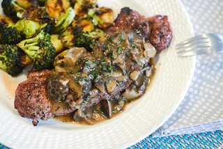 Grilled Strip Steaks with Mushroom Gravy