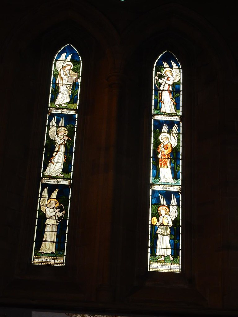Burne-Jones windows, St Mary's Speldhurst Angels, Ashurst to Eridge