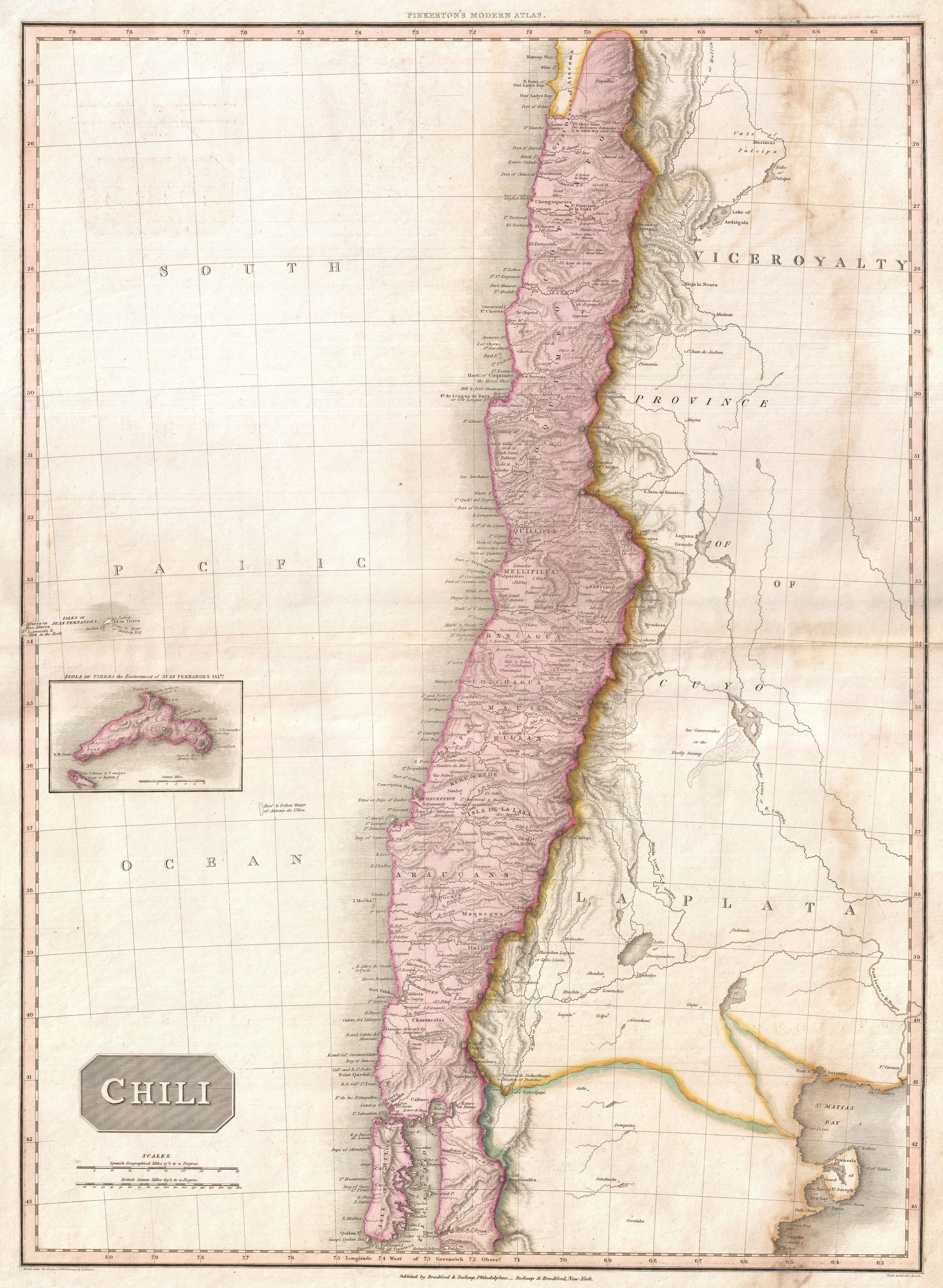 Pinkerton map of Chile, 1818
