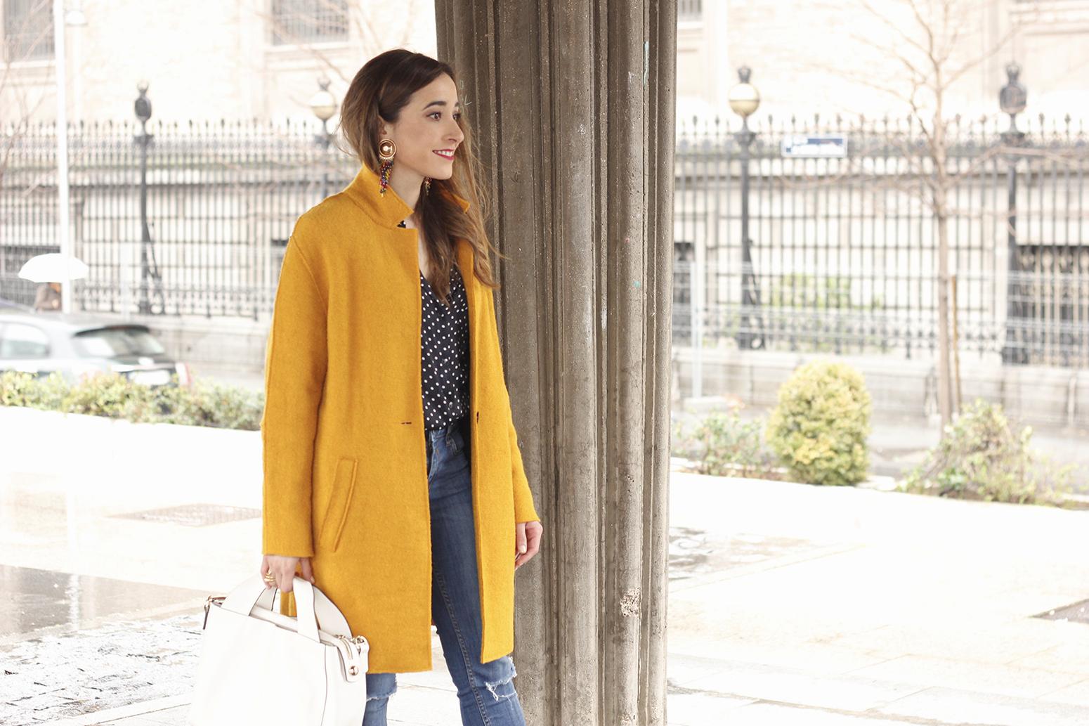 mustard coat polka dots shirt leopard heels white bag outfit 13