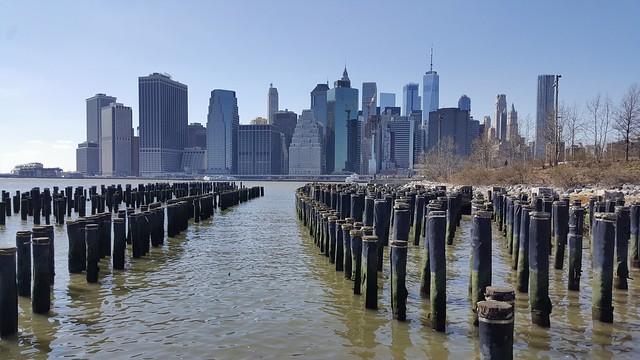 Lower Manhattan as seen from Brooklyn Bridge Park in New York City, NY