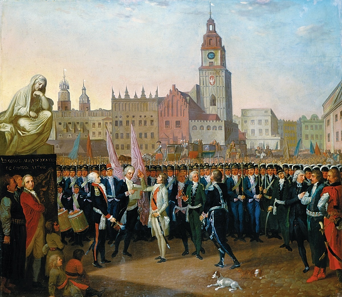 Tadeusz Kościuszko takes the oath to the King on the Rynek in Kraków, on March 24, 1794. The red brick Town Hall with white bastion still standing on a 1797 painting by Franciszek Smuglewicz.