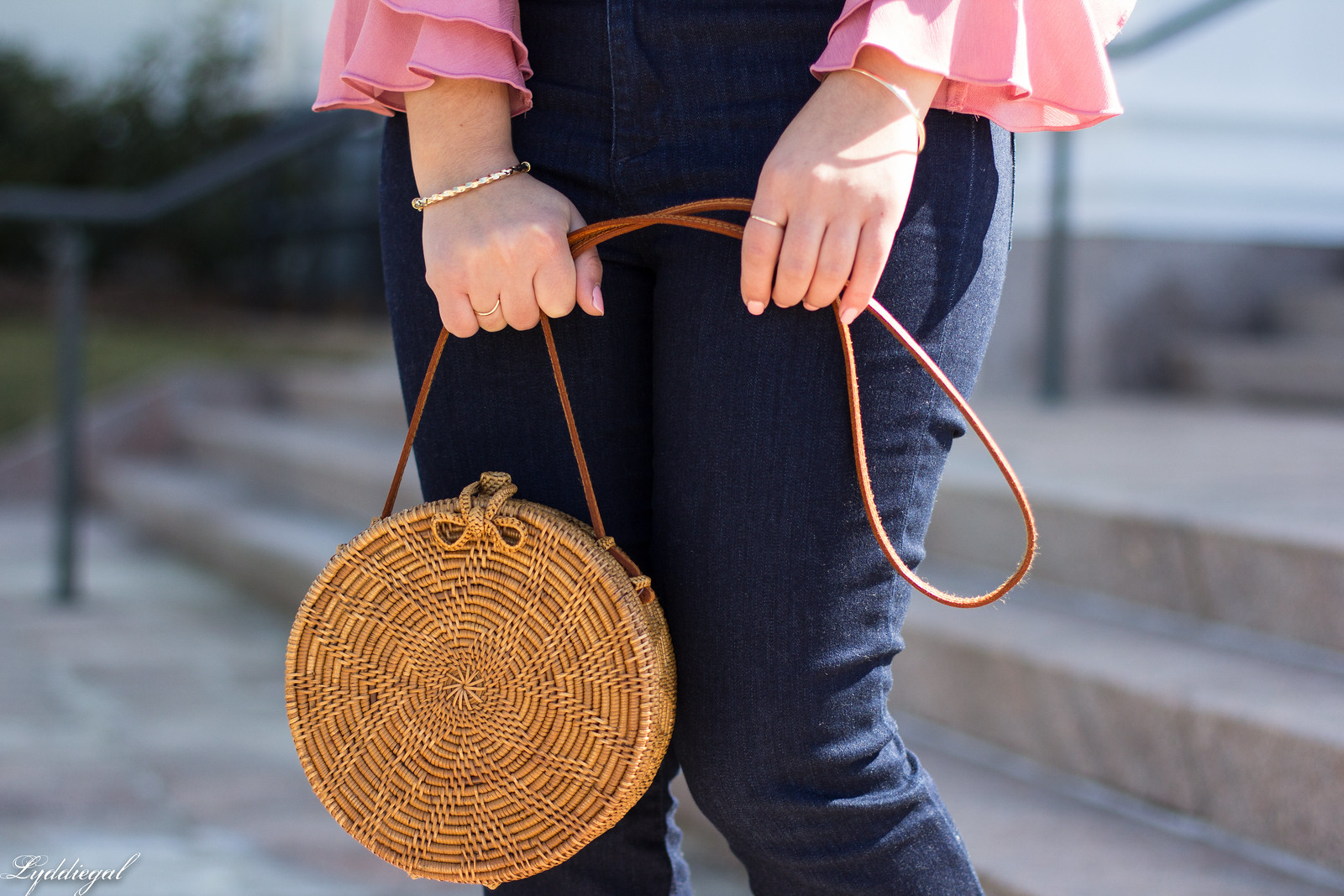 Pink Ruffled blouse, Flared Denim, Round rattan bag-34.jpg