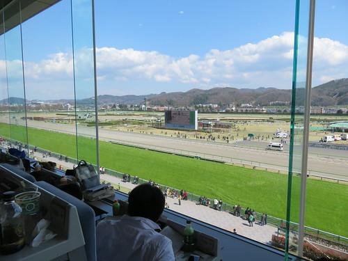 福島競馬場の4階から見たコース