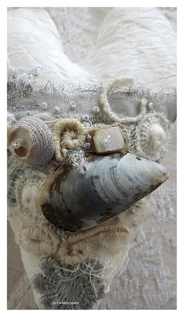 winter beachcombing textile art heart