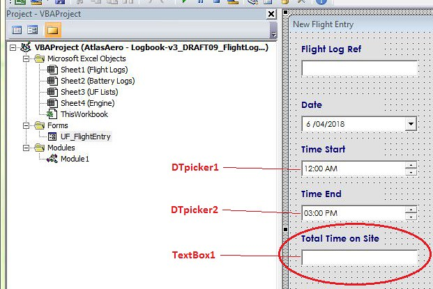 Excel VBA Userform Help - Calculate time in hours and minutes