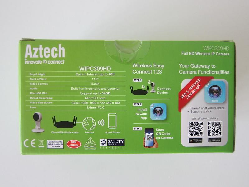Aztech WIPC309HD Full HD Wireless IP Camera - Box Back