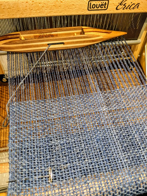 Weaving with irieknit handspun Gulf Coast Native wool yarn on Louet Erica table loom