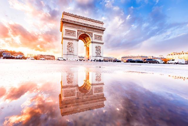 Sunset after rain in Paris