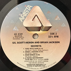 GIL SCOTT-HERON AND BRIAN JACKSON:SECRETS(LABEL SIDE-B)