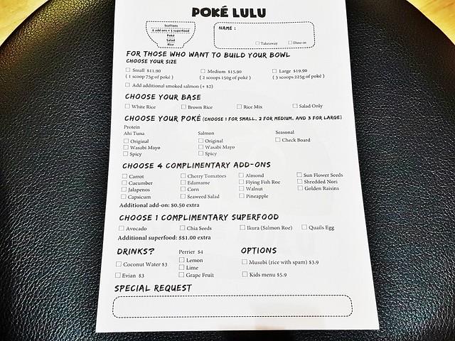 Poké Lulu Menu