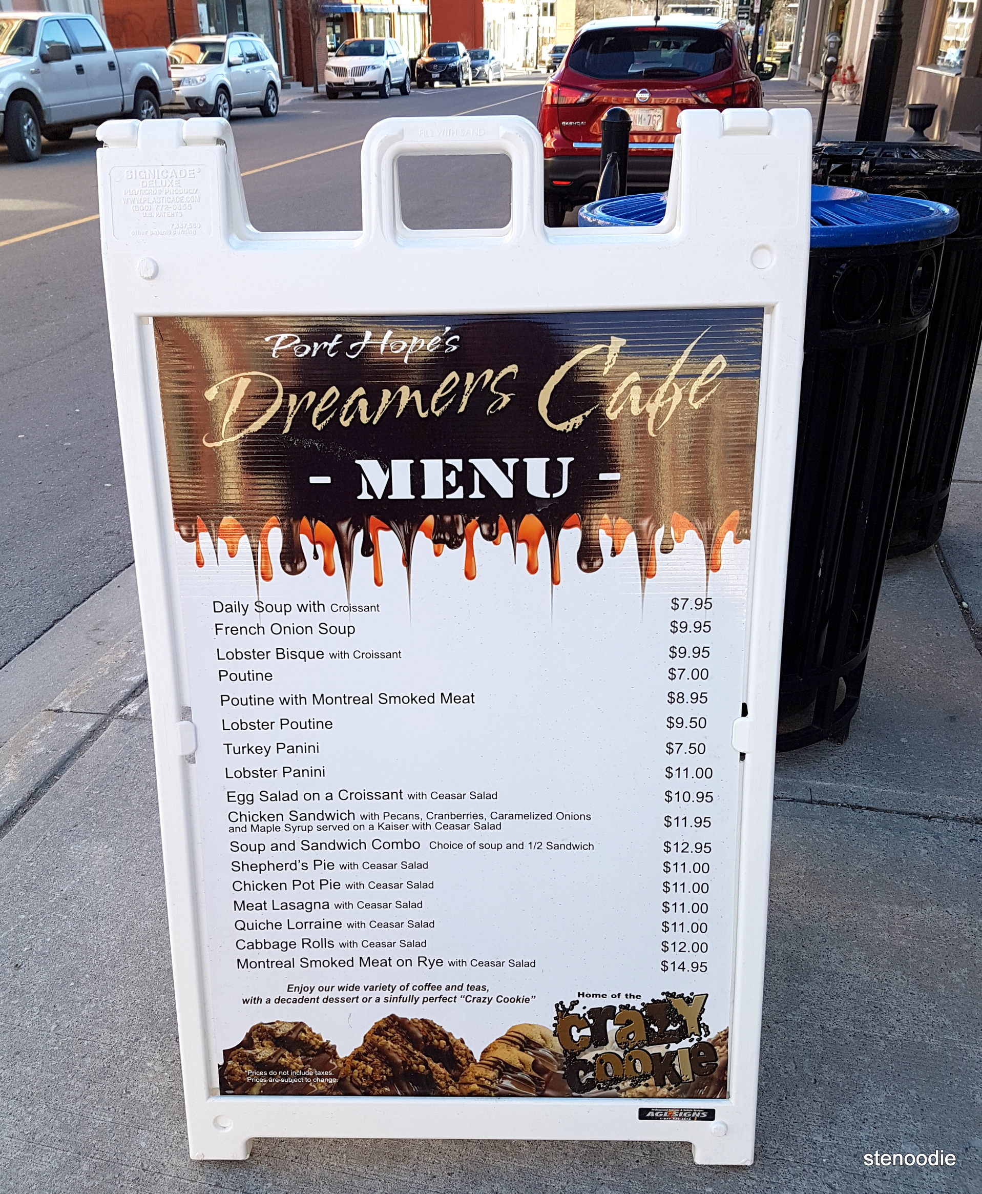 Dreamers' Cafe menu and prices