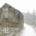 Fieldbarn ruin in the snow at Macclesfield Forest