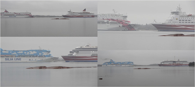 Ferries on a gray day