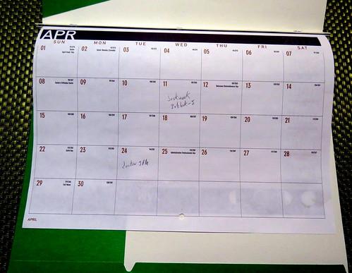 April 2018 Diary