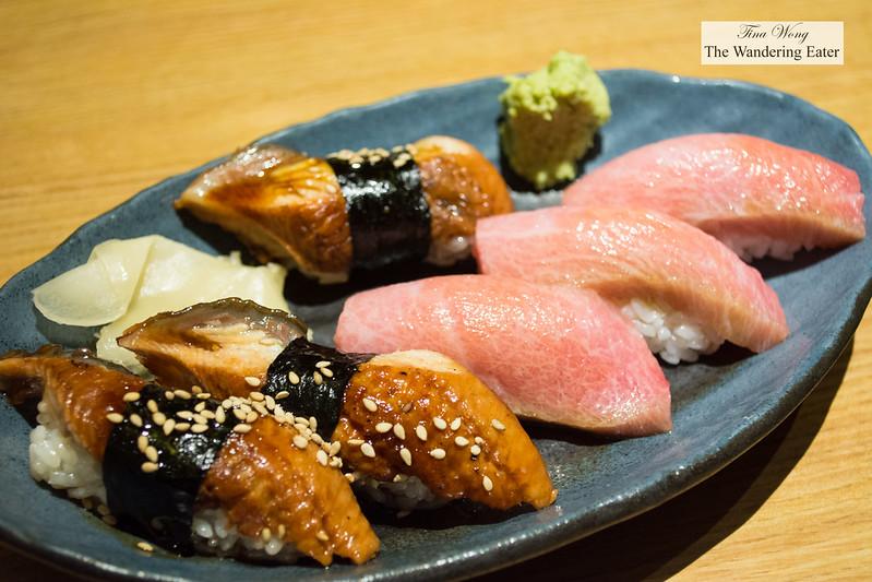 Plate of nigiri sushi - Unagi eel and Toro (fatty) tuna