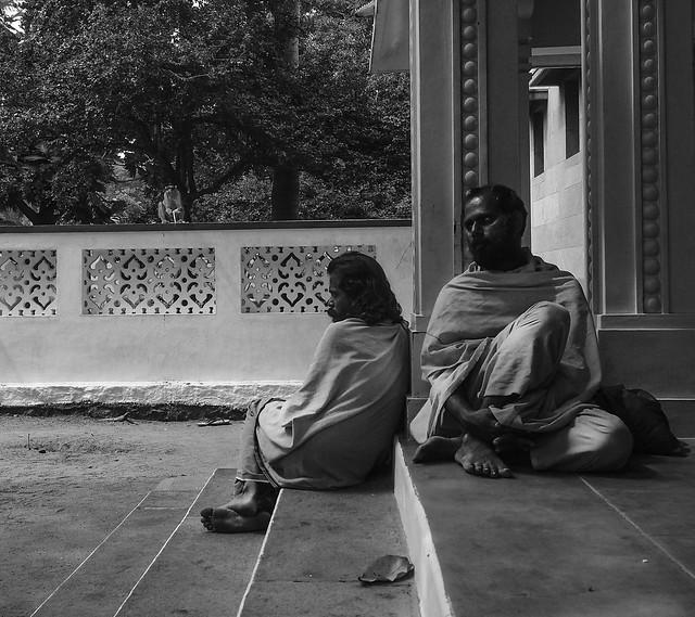 Sadhus in the ashram ..