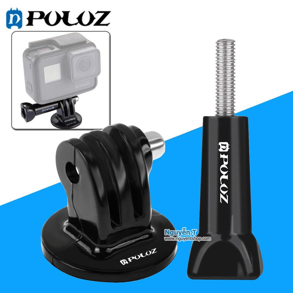 Mount GoPro - Đế GoPro gắn tripod chân máy ảnh + Vít vặn dài hãng PULUZ
