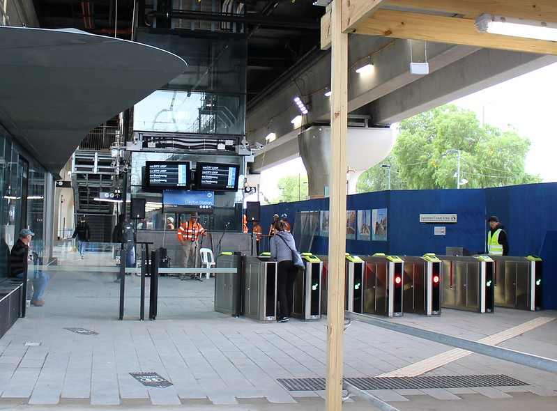 New Clayton station fare gates on opening day