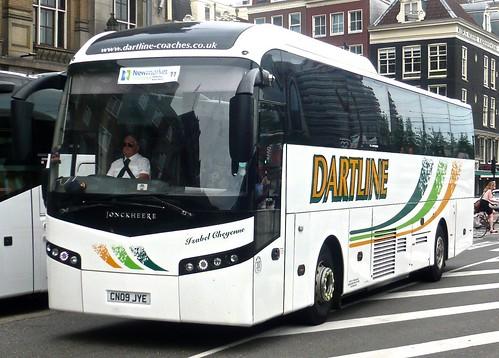 CN09 JYE 'Dartline Coaches' of Clyst St. Mary, Devon. Volvo B12M / Jonkheere SHV on 'Dennis Basford's railsroadsrunways.blogspot.co.uk'