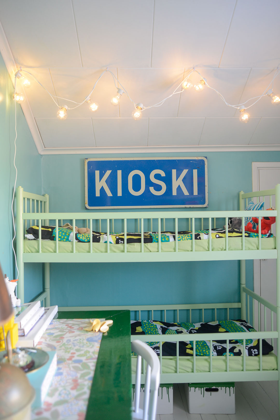 Green and turquoise boys room