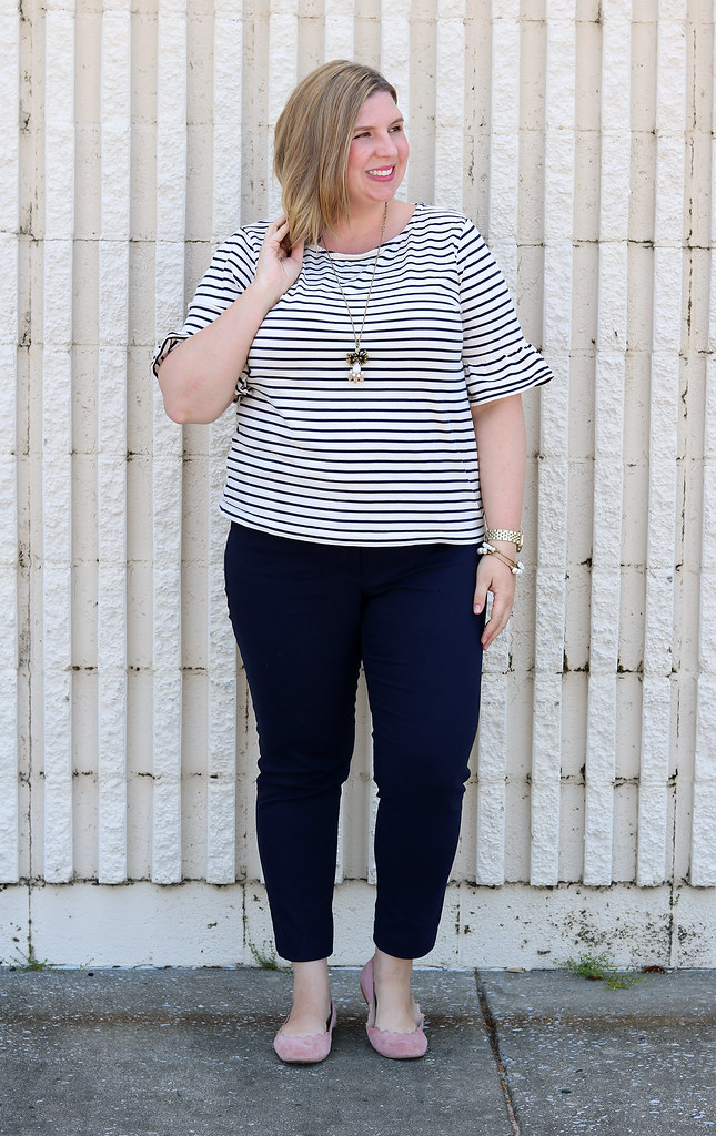 tripe ruffle sleeve top, navy pencil pants, blush scallop flats 7