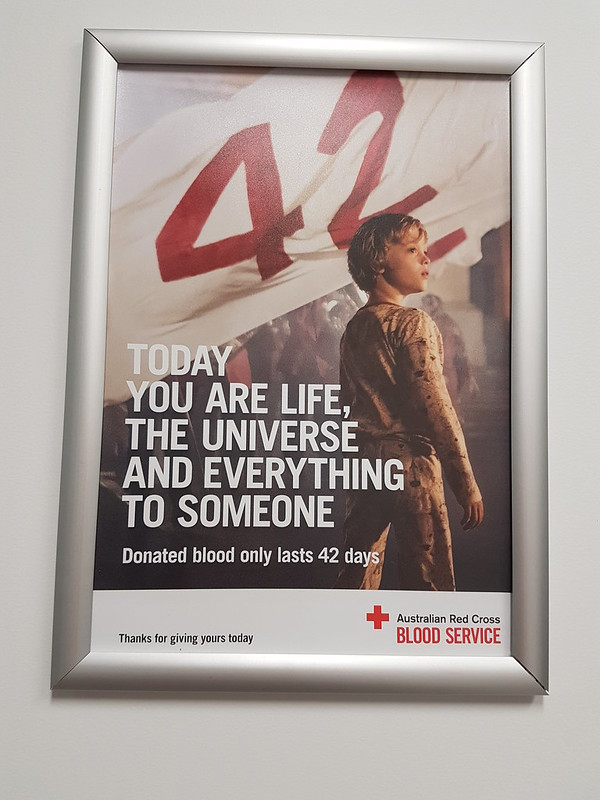 Life, the universe and everything - sign at the blood bank