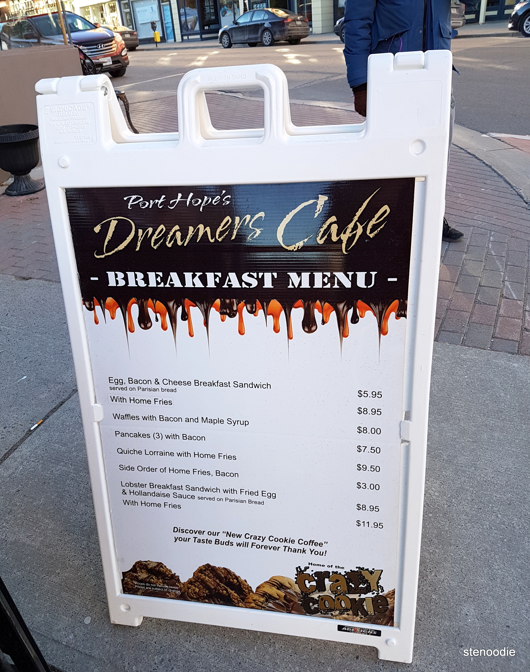 Dreamers' Cafe breakfast menu and prices