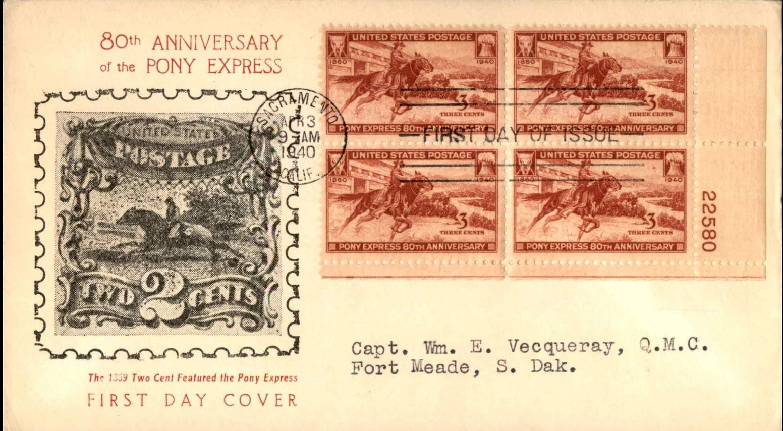 United States - Scott #894 (1940) first day cover, plate block - Sacramento, California