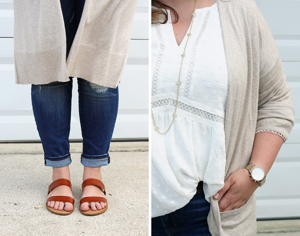 white peasant top, long tan cardigan, distressed jeans, double strap sandals 1
