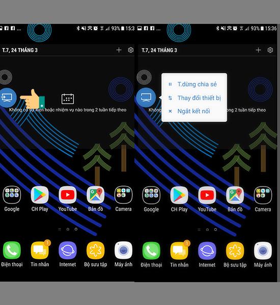 Cách chiếu màn hình điện thoại lên smart Tivi samsung