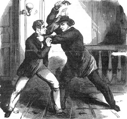 Artist's depiction of Lewis Powell attacking Frederick Seward after attempting to shoot him. Published in National Police Gazette on April 22, 1865.