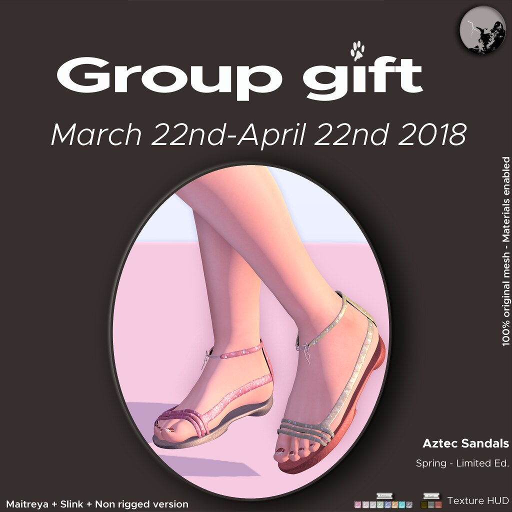 Petit Chat GroupGift Match22/April 22nd : Aztec sandals Spring ed. - TeleportHub.com Live!