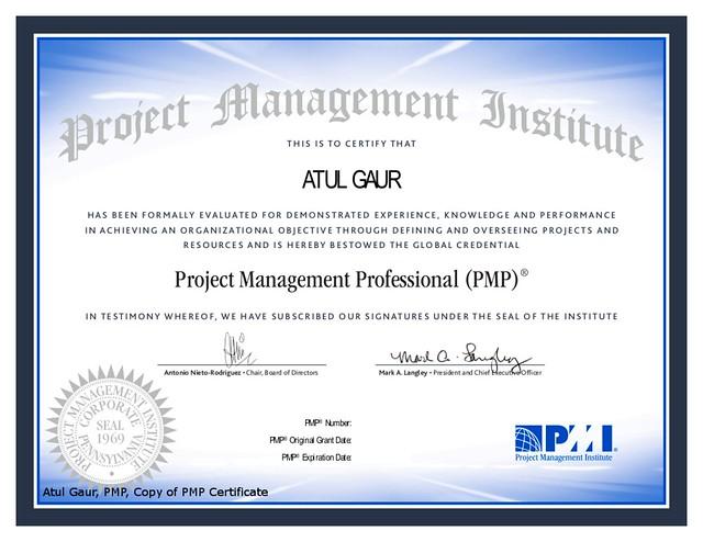 PMP Certificate Atul Gaur