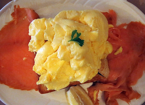 Smoked salmon and scrambled eggs for breakfast at Murphy's Pub and B&B in Dingletown, Ireland